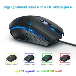Ombar 2.4G 4000DPI Wired Gaming Mouse Adjustable Optical Mice 6D For PC Computer