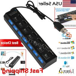 7 - Port USB 2.0 Multi Charger Hub +High Speed Adapter ON/OF