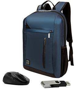 VanGoddy Navy Blue Anti-Theft Laptop Backpack w/USB Hub & Mo