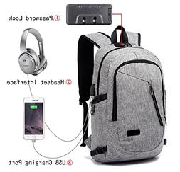 Anti Theft Business Laptop Backpack With USB Charging Headph