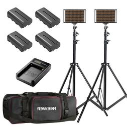Neewer 2x Bi-color Dimmable 280 LED Video Light Kits with St