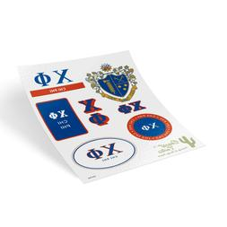 Chi Phi Traditional Crest and Letters Sticker Sheet Decal La