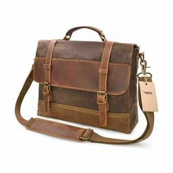 NEWHEY Mens Messenger Bag Waterproof Canvas Leather Computer