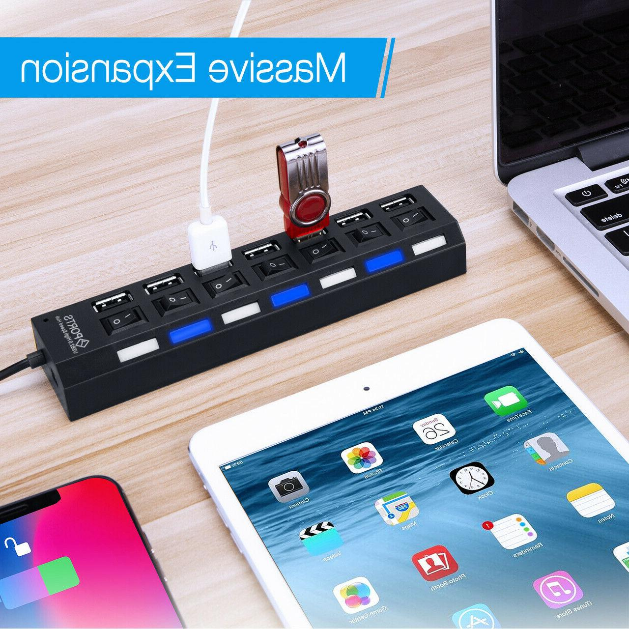 7-Port USB Charger Hub + Speed Adapter ON/OFF Switch Laptop PC US