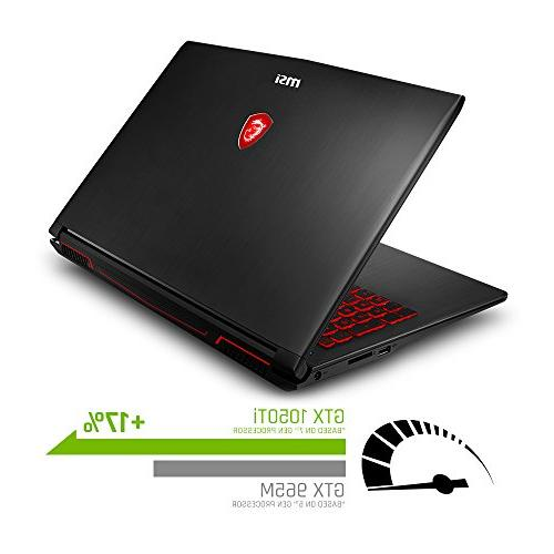 MSI Full HD Laptop PC i5-8300H, 1050Ti RAM, 16GB Intel + 10 64 Steelseries Red Backlit Keys