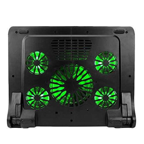 ENHANCE Gaming Cooling Pad Stand Cooler Fans, Adjustable Height, Dual 17 inch 5 Quiet Performance 2630 RPM & Green