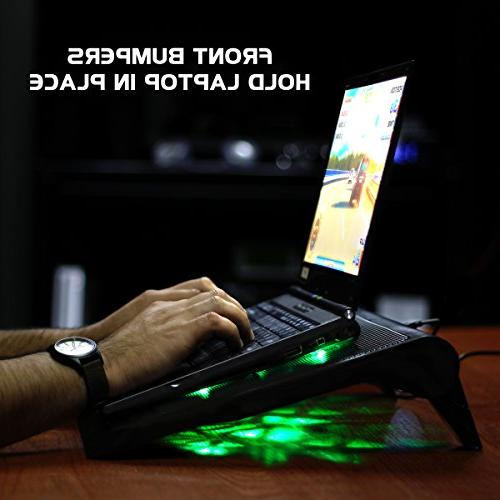 ENHANCE Gaming Pad Stand with Cooler Fans, Adjustable Height, Dual Port 17 - 5 Performance Fans 2630 RPM & Built-in - Green