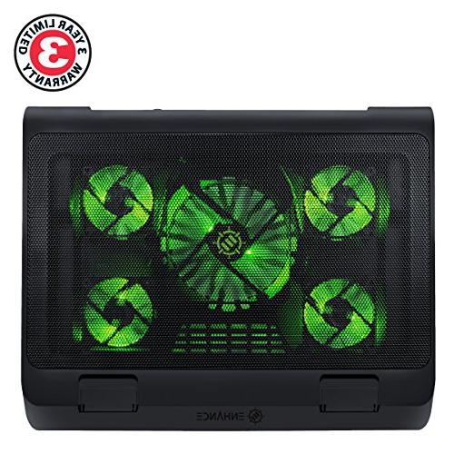 ENHANCE Laptop Pad Cooler Fans, Height, Dual USB for 17 Laptops 5 High Performance Fans 2630 RPM & Built-in - Green