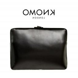 Knomo London Black Leather Sleeve for Tablets & Laptops 13""