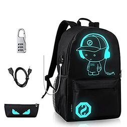Luminous School Backpack Laptop Backpack with USB Charging P