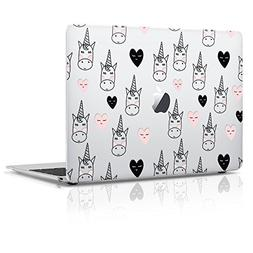 Macbook Pro 13 inch  Plastic Matte Hard Case, Heart Unicorn