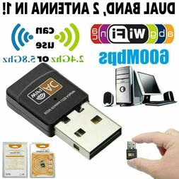Mini Dual Band 600Mbps USB WiFi Wireless Adapter For Noteboo