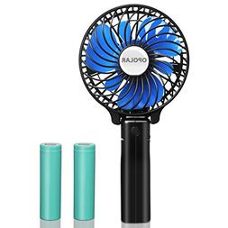 OPOLAR Small Handheld Battery Operated Travel Fan with Two 2