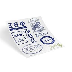Phi Beta Sigma Traditional Crest and Letters Sticker Sheet D