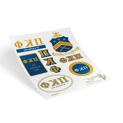 Pi Kappa Phi Traditional Crest and Letters Sticker Sheet Dec