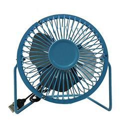 "Sky Blue USB Mini Fan 5V 2.5W Personal Cooler Desk 4"" Fan La"