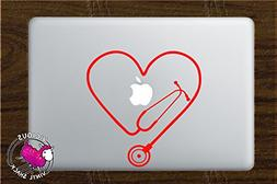 Stethoscope Heart Cutout  Vinyl Decal Stickers for MacBook L