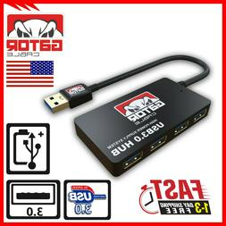 USB 3.0 Hub 4-Port Adapter Charger Data Sync Super Speed PC