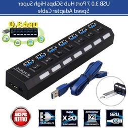 New Insten 7-Port USB Hub with ON / OFF Switch Adapter LED L