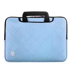 Waterproof Blue PU Leather Laptop Briefcase w/Microfiber Int