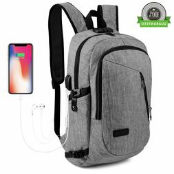 Anti Theft WaterProof Mens Backpack USB Charger Laptop Schoo